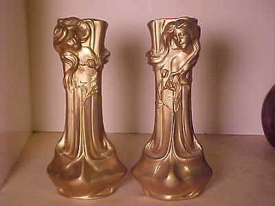 Rare Pair Metal Art Nouveau Candle Holders Women With Flowing Hair