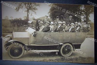 """c1910s  Small Charabanc captioned""""Singleton"""" to the back - Real photo Postcard"""