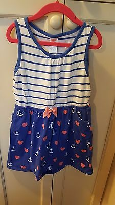 Girls Gymboree casual nautical summer dress blue white pink sz. 8