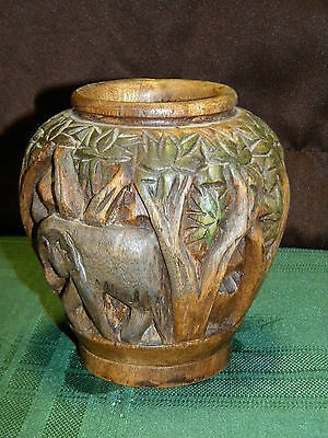 "Wood Elephant Vase from Thailand, Pier 1 Imports 6"" tall"