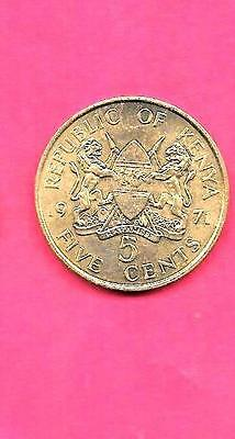 Kenya Km10 1971 Unc-Uncirculated Mint 5 Cents Old Vintage Coin