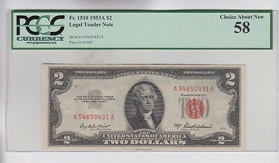 Red Seal 1953-A $2 PCGS graded choice about new  58 no comment