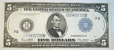 1914 $5 Federal Reserve Note Blue Seal Chicago EM368