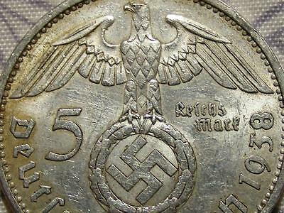 1938 Rare Old Wwii Antique German Silver 3Rd Reich Berlin Nazi Eagle War Coin