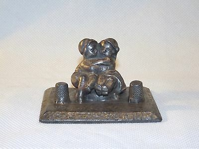 Antique Sewing Thimble Holders of Boy, Girl Brother Sister Hugging very Cute