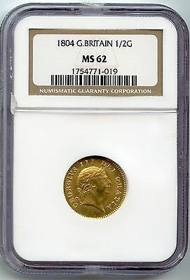 Attractive Great Britain GOLD 1/2 guinea 1804 George III  NGC MS-62 SCARCE UNC