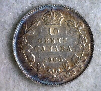 CANADA 10 CENTS 1904 AU SILVER COIN (stock# 0490)