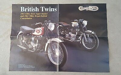 Vintage Poster Bsa British Twins Motorcyce 1961 Super Rocket & Royal Enfield
