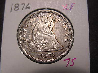 1876 Seated Liberty Quarter  Xf Nice Detail Color And Luster