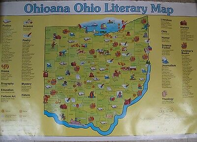 Rolled Color Map of Ohio Literary Map Authors Cartoons Thurber Ohioana 1995