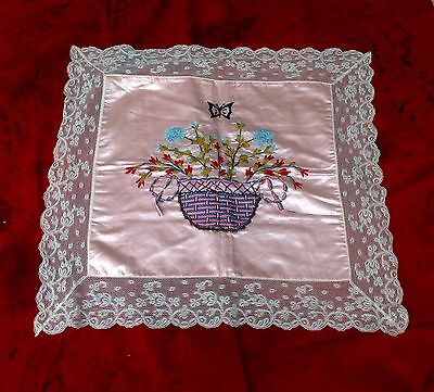 Vintage SILK RIBBON EMBROIDERED FLOWER BASKET PILLOW COVER