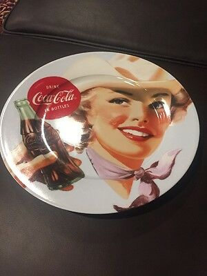 "Coca Cola Drink Coke Retro Ladies Ceramic 10.5"" Plate NEW - Cowgirl"