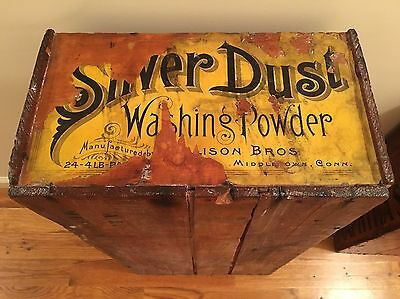 Silver Dust Antique Soap BoX Vintage Advertising Country General Store Crate
