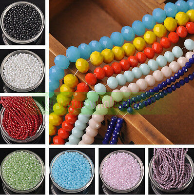 3/4/6/8/10mm Jade AB Rondelle Faceted Crystal Glass Loose Spacer Beads Finding