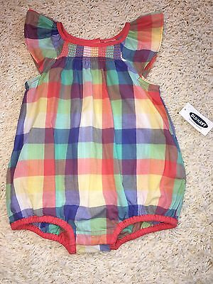 Baby Girl Infant Old Navy Plaid Romper 3-6m 3-6 Months New NWT Outfit #S
