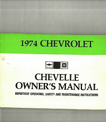 1974 Chevrolet Chevelle Owner's Manual - Nos New Old Stock