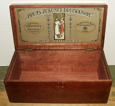 Late 1800's Pryn's Zukunft Druckknoff Sewing Notions Country Store Display Box
