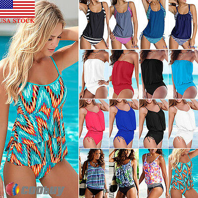 US Womens One Piece Tankini Swimwear Swimsuit Bikini Bathing Suit Beachwear New