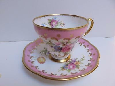Foley Cup Saucer Pink With  Exterior Flowers Great Gold  Scroll Trim