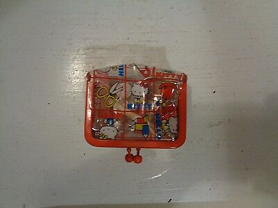 Vintage Sanrio Hello Kitty Mini Sewing Kit Clear Plastic Japan 1975 Red Rare