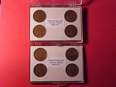 Newfoundland George Vi Small Cents Set Complete 1938-1947 In Custom Cases