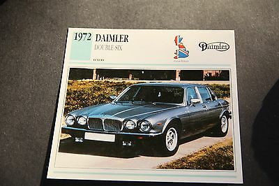 1972 DAIMLER DOUBLE SIX LUXURY CAR  collectors card photo &  specifications card