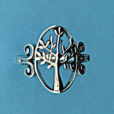 Ornate Small Tree of Life Ring Sterling Silver Reiki Wicca Pagan Shaman Spirit