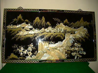 Hand Crafted Chinese, Japanese Mother Of Pearl Inlaid Wood Panel Pic 90 X 50 Cm