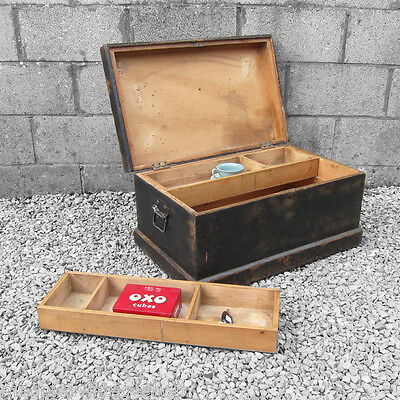 1940 Vintage Trunk Chest Box Storage Rustic Painted Pine Rustic Coffee Table old