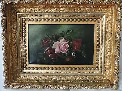 19th Century Oil on Canvas Still Life Painting with Gilded Frame