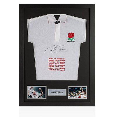 Framed Martin Johnson Signed Shirt - England Rugby World Cup Winners 2003