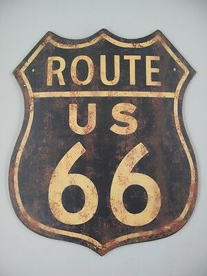 XXL USA Route US 66 Blau / Metallschild 55x45 ! Historic Road - Mother Road
