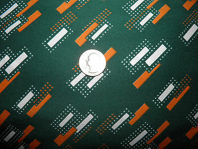 """1 1/4 Yards Vintage Blouse Weight Fabric - Orange White Abstract Green 44"""" Wide"""