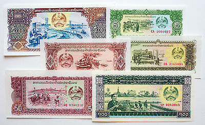 Set of 6 diff. Laos paper money 1979 to 1988 Au-Unc.