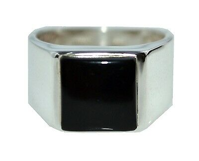 925 Sterling SILVER Mens Black Onyx Ring Gents Size M,6 to Z5, 15; Real Gemstone