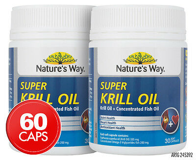 2 x Nature's Way Super Krill Oil 30 Soft Capsules