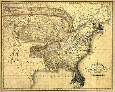 1833 Eagle Map of the United States 1800's US Map 20x24