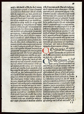 1492 Summa Angelica de Casibus Conscientiae Incunable Leaf 4 Hand-Colored Letter