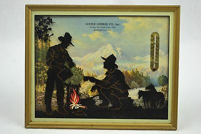 Vintage Antique Picture Thermometer Reverse Painted Cowboy Scene Martinsville Va