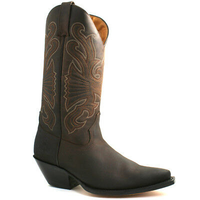 e89177bb961f6 Mens Grinders Buffalo Brown Leather Cowboy Western Tall Pointed Boots
