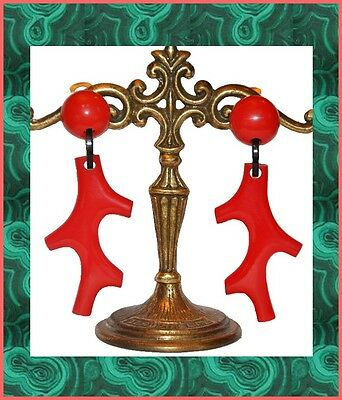 French Red Resin Coral Branch Dangling Clip On Earrings
