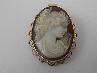 9ct GOLD CAMEO BROOCH PENDANT