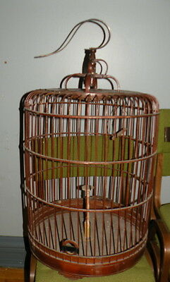 LARGE Antique Vintage Brown Chinese Bamboo Wooden Hanging Bird Cage