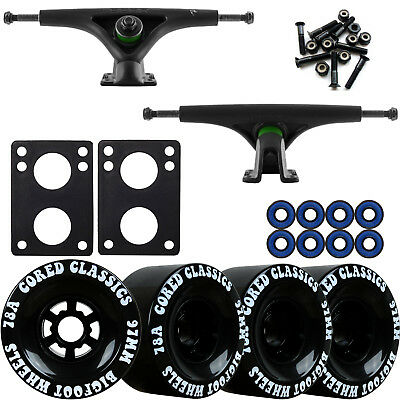Bear 852 Black Longboard Trucks Wheels Package Bigfoot 97mm Cored Classics Black