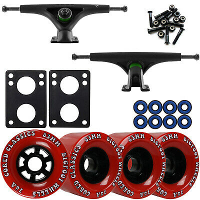 Bear 852 Black Longboard Trucks Wheels Package Bigfoot 83mm Cored Classics Red