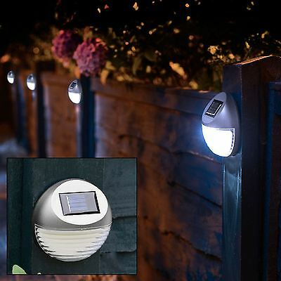 2 x Decorative Silver Garden Solar Lights Outdoor Fence Step Gutter Fence Lamps