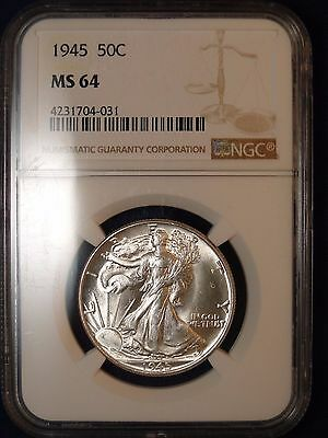 1945 50C Walking Liberty Half Dollar Ngc Ms64