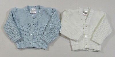 Baby Boys Button Up Knit Cardigan V Neck Sky Blue Thick Knitted 6-12 Months 106