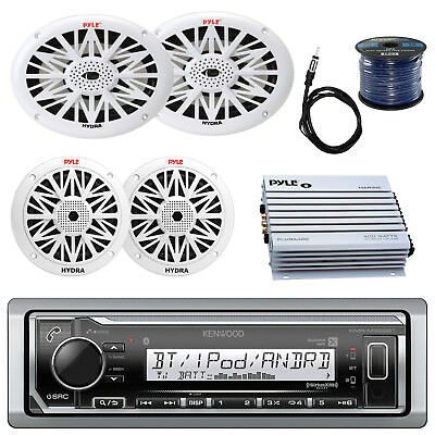 "KMR-M318BT Marine USB Bluetooth Radio,6x9""and 6.5"" Speaker Set,400W Amp, Antenna"