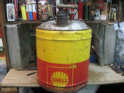 SHELL MOTOR OIL 5 GAL GALLON GAS CAN TIN FILLING STATION OLD FARM petroleum